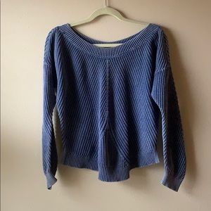aerie washed blue knit sweater